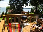 The deck at Cottage #4 at Crown Point Resort on Lake Kegonsa in Stoughton, WI 2012